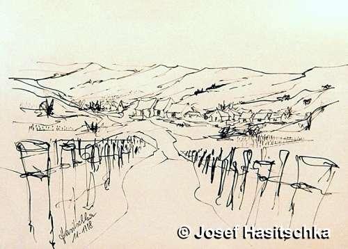 Landschaft mit Dorfansicht im Weinviertel